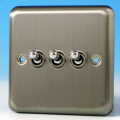 Varilight 3 Gang 10A 1 or 2 Way Dolly Toggle Light Switch Brushed Matt Chrome Finish XST3